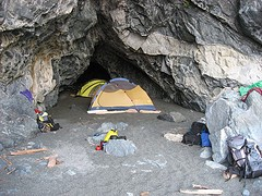 Camping in the sea caves